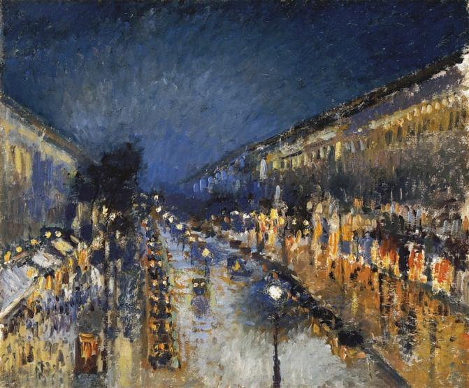 Boulevard Montmartre de noche. Camille Pissarro - 1897