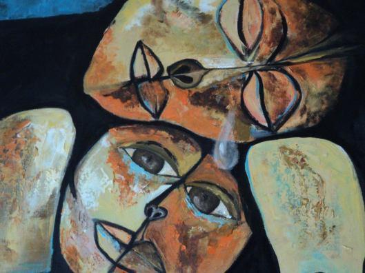 """María Isabel Munchmeyer.  Interpretaciòn personal de la obra """"Madre y niño"""", de Osvaldo Guayasamín."""