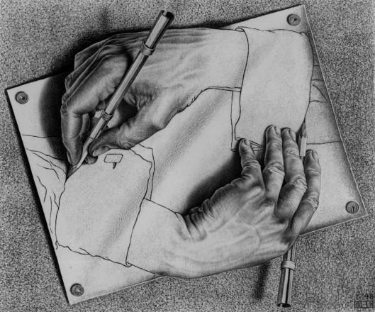 """M. C. Escher.  """"Manos dibujando"""""""