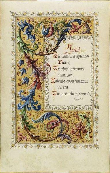 Neo-Gothic illuminated manuscript on vellum. Belgium, c. 1890
